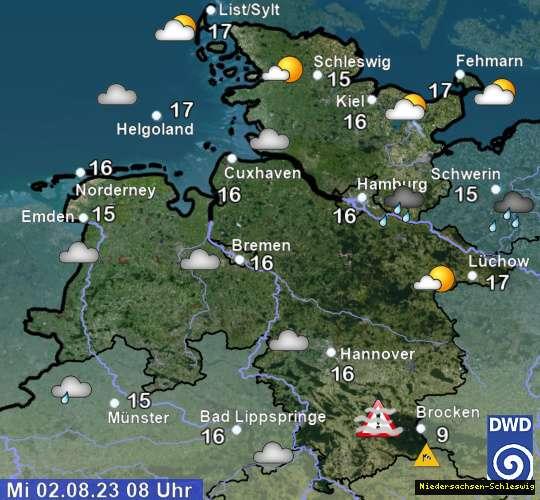 Wetter in Niedersachsen und Schleswig Holstein